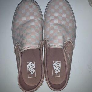 Vans Shoes - Vans pink checkered slip ons